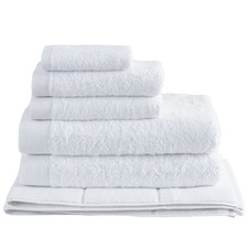 6 Piece White Spa 600GSM Bamboo & Turkish Cotton Towel Set