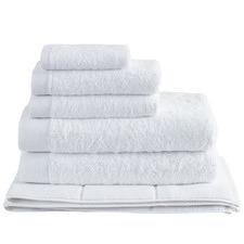 6 Piece White Spa 600GSM Bamboo & Turkish Cotton Towel Set