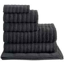 Black Ribbed 600GSM Turkish Cotton Towel Set