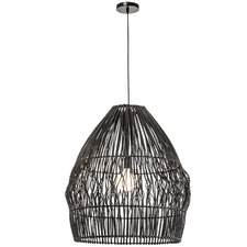 Black Archer Rattan 66cm Tall Pendant Light