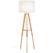 Natural Benson Wooden Tripod Floor Lamp