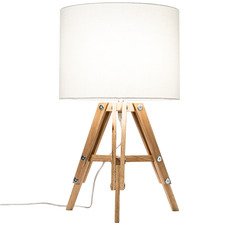 Natural Benson Wooden Tripod Table Lamp