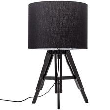 Black & Whitewash Benson Wooden Tripod Table Lamp