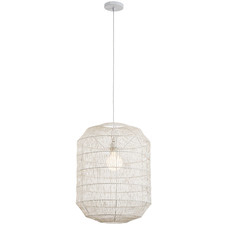 White Eclipse Woven 60cm Tall Pendant Light
