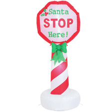 120cm LED Inflatable Santa Stop Here Sign