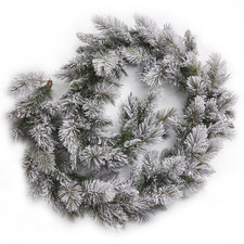 270cm Frosted Green Snowy Mountain Premium Flocked Garland