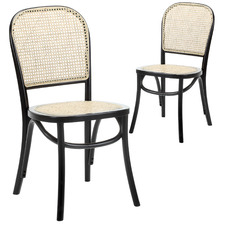 Luca Beech & Rattan Dining Chair (Set of 2)