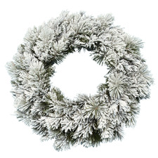 76cm Frosted Green Snowy Mountain Premium Flocked Wreath