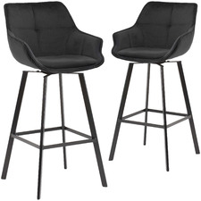 74cm Black Krystoffer Velvet Swivel Bar Stools (Set of 2)
