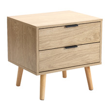Natural Lars 2 Drawer Bedside Table