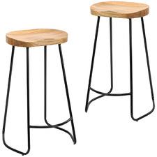 75cm Premium Vintage-Style Elm Wood Barstools with Black Legs (Set of 2)