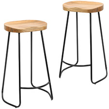 75cm Vintage-Style Elm Wood Barstools with Black Legs (Set of 2)
