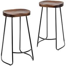 75cm Vintage-Style Elm Wood Barstools with Black Legs (Set of 2)