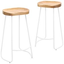 Premium Vintage-Style Elm Wood Barstools with White Legs (Set of 2)