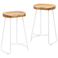 66cm  Vintage-Style Elm Wood Barstools with White Legs (Set of 2)