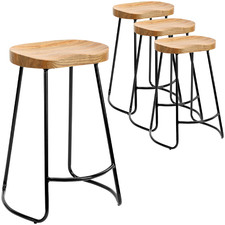 66cm Vintage-Style Elm Wood Barstools with Black Legs (Set of 4)