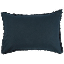 Navy Fringed Maia Cotton-Linen Standard Pillowcases (Set of 2)