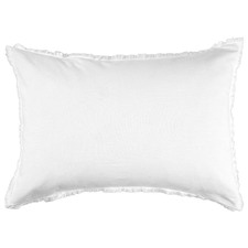 White Fringed Maia Cotton-Linen Standard Pillowcases (Set of 2)