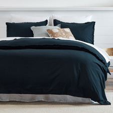 Navy Fringed Maia Cotton-Linen Quilt Cover Set