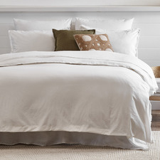 White Fringed Maia Cotton-Linen Quilt Cover Set