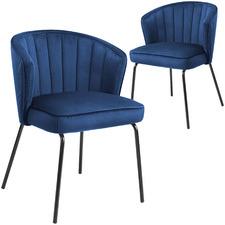 Navy Harlem Velvet Dining Chairs (Set of 2)