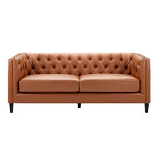 Tan Thiago 3 Seater Premium Faux Leather Sofa