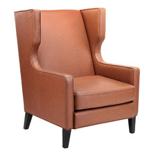 Tan Zayn Premium Faux Leather Wingback Armchair