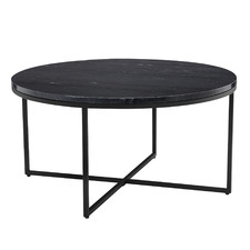 80cm Black Serena Round Marble Coffee Table
