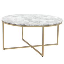 80cm White Serena Italian Carrara Marble Coffee Table