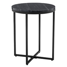 40cm Black Serena Round Marble Side Table