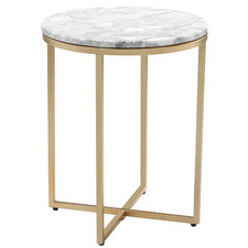 40cm White Serena Round Italian Carrara Marble Side Table