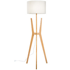 Brae Rubberwood Tripod Floor Lamp