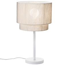 White Paper Rope & Steel Table Lamp