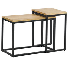 2 Piece Natural & Black Boras Nesting Side Table Set