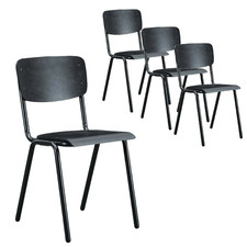 Black Campus Stackable Dining Chairs (Set of 4)