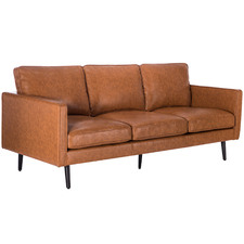 Tan Carlo Faux Leather 3 Seater Sofa