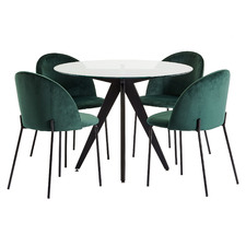 4 Seater Midnight Aria Dining Table & Velvet Chair Set