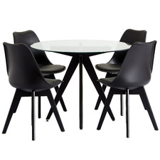 4 Seater Black Nova Dining Table & Chair Set