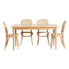 4 Seater Parquet Dining Table & Rattan Chair Set