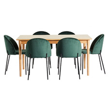6 Seater Parquet Dining Table & Velvet Chair Set