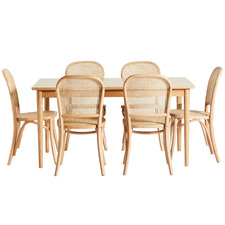 6 Seater Parquet Dining Table & Rattan Chair Set