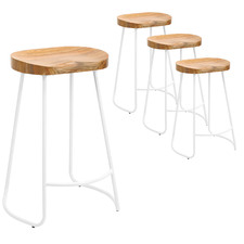66cm Premium Vintage-Style Elm Wood Barstools with White Legs (Set of 4)