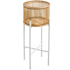 Goldie Rattan Planter & Metal Stand