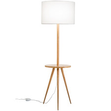 Natural & White Wooden Floor Lamp