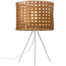 Woven Rattan & Steel Table Lamp