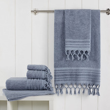 6 Piece Soft Blue Knotted Byron Turkish Cotton Towel Set