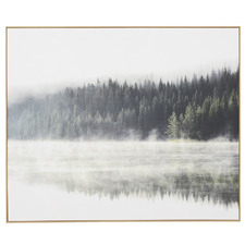 Green Pine Reflection Framed Canvas Wall Art