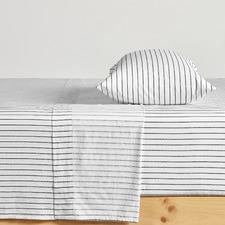 White Striped Organic Cotton Sheet Set