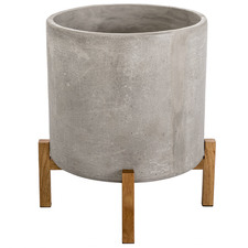 Dark Grey Cement Planter on Stand