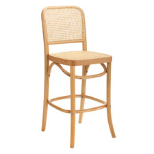 65cm High Back Luca Beech Wood & Rattan Barstool